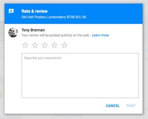 Screenshot of Google review